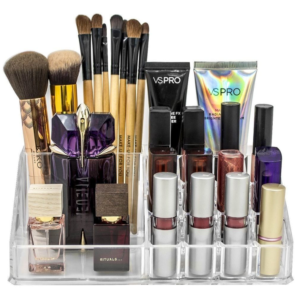 16 Compartment Cosmetic Makeup Jewellery Lipstick Storage Organiser Box 1a