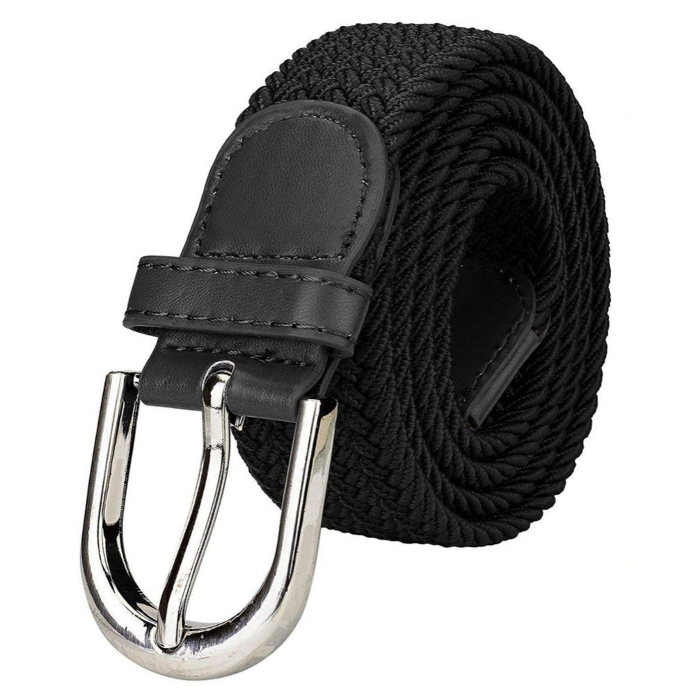 Women Braided Elestic Stretch Woven Belt (WB-1) Black Free Size Under 200 a