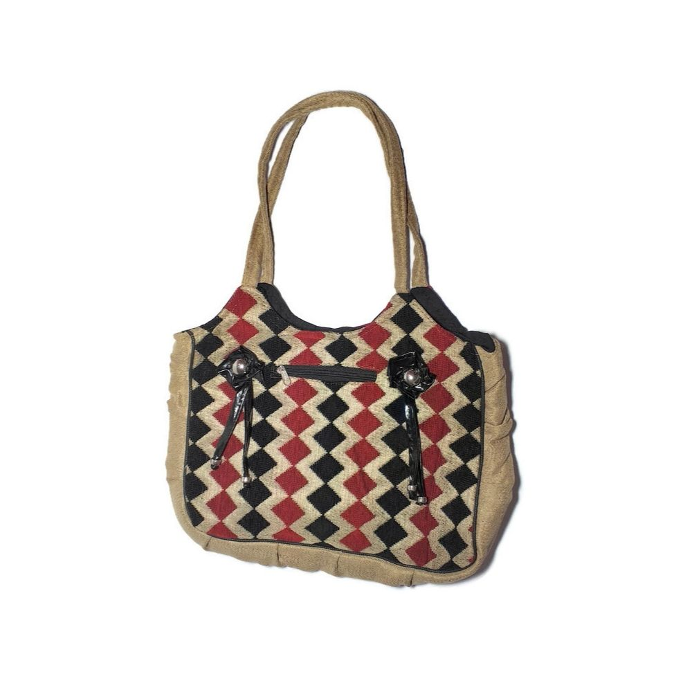 Women's Jute ShoulderHand Bag with Embroidered Set Of 3 (COMBO)1b